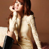 Laciness Apricot Beauty Long Sleeve Dresses : Wholesaleclothing4u.com