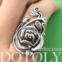 Simple Rose Floral Wrap Ring in Silver - Size 6, 6.5 and 7 ONLY