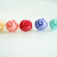 Pick Your Mini Rose Bud Stud Earrings