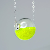 Neon yellow glitter hand blown glass ball sterling silver necklace