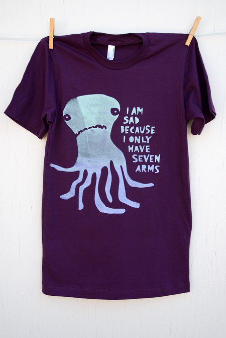 Sad Sevenarmed Octopus hand printed eggplant by mumbletease