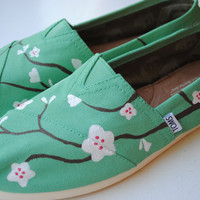 Hand Painted TOMS in Cherry Blossom Design on Mint Green TOMS, Custom Hand Painted Shoes