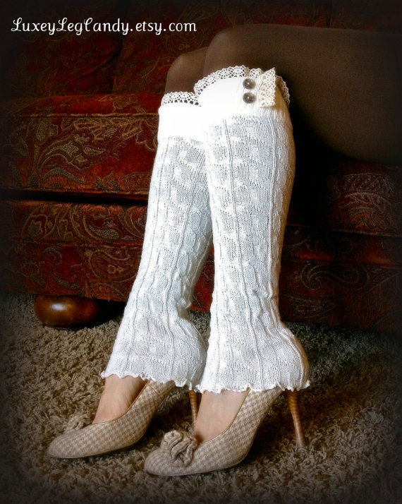 Lace Leg Warmers / Boot Socks In Off White by LuxeyLegCandy