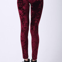 ROMWE | Classic Gold Velvet Wine-red Leggings, The Latest Street Fashion