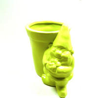 neon gnome planter, garden pot, gardening, patio, outdoor decor, planters, gnomes, lime green, garden gnome