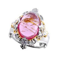 Michael Valitutti Two-tone Pink Rutilated Quartz and White Sapphire Ring | Overstock.com