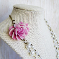 Pearl strand nekclace - flower necklace, lilac cabbage rose, glass pearls, double strand, dramatic, shabby chic