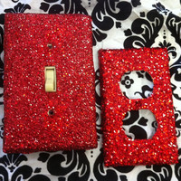Sex Kitten Red Glitter Switchplate and Outlet Set by ArtZodiac