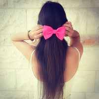 BIG Glowing pink hair bow by colordrop on Etsy