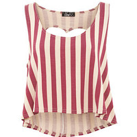 Te Amo Burgundy Stripe Heart Cut Out Top