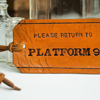 Harry Potter Leather Luggage Tag Please Return to by MesaDreams