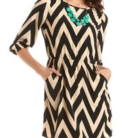 Chevron Stripe Woven A-Line Dress: Charlotte Russe