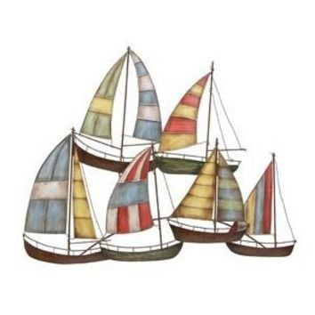"6 Sailboats Metal Wall Art Sculpture 33""w, 26""h"