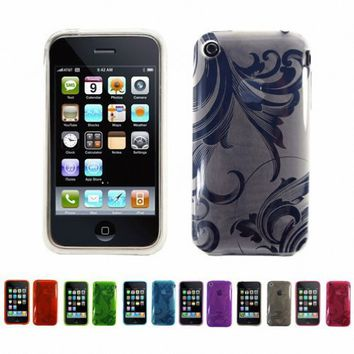WHITE Apple iPhone 3G 3Gs 8GB 16GB 32GB FLORAL Transparent Jelly Silicone Skin Case Cover   Free Sc