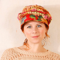 Woman knit hat Red woman hat Red crochet hat Crochet newsboy Woman chunky knit Red newsboy hat Slouchy hat Summer hat woman Yellow red hat