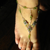 Slave Anklet Foot Adornment Peridot Green Swarovski by jennibella