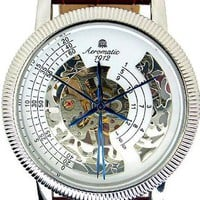 Aeromatic Mechanical Skeleton Brown Leather Watch from Watchismo.com
