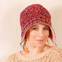 Woman summer hat Crochet cloche Summer cloche Pink hat woman Pink summer hat Knit cloche woman Crochet hat woman Flapper cloche