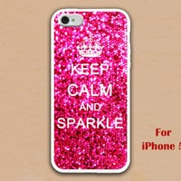 iPhone 5 Case, keep calm and sparkle iphone 5 case, hot pink sparkle painting iphone 5 case, case for iphone 5