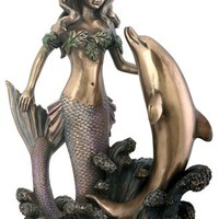 Mermaid with Dolphin Figurine Decoration Statue
