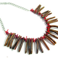 Bamboo Coral Necklace Tribal Beaded Golden by LuisasCreations