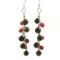Cherry Blossom earrings long dangle beaded by LuisasCreations