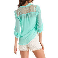 Lace Pocket Hi-Low Blouse: Charlotte Russe