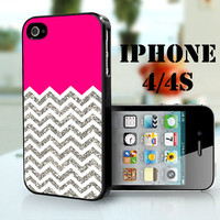 hot pink with white and silver Chevron - iPhone 4S and iPhone 4 Case Cover