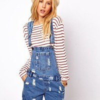 ASOS Denim Dungaree Shorts in Ripped Vintage Wash at asos.com