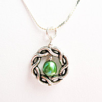 Celtic Knot and Green Pearl Necklace - on Sterling Silver Chain