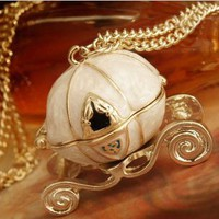 Fairy Tale Cinderella Magic Pumpkin Carriage Pendant Necklace 2 Colors