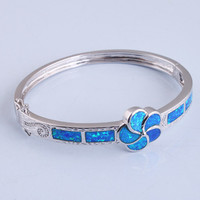 925 Silver Zircon Blue Flower Crystal Bangle Bracelet at Online Jewelry Store Gofavor