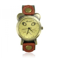 Cat Face Leather Watch