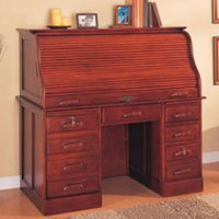 Buy.com - Cherry finish wood roll top computer desk