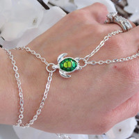 Slave Bracelet Ring, Turtle, Green, Yellow, Silver, Sea Turtle, Oceanic, Nautical Slave Bracelet, Adjustable or Custom Sized Bracelet Ring.