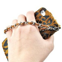 Sexy Leopard Patten Leather Cover With Detachable Wrist Strap For iPhone 5