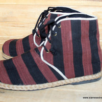 Men's Vegan Short Boots In Tribal Naga Textiles Black and Brown 12