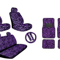 Premium New Style Purple Zebra 15pc Low Back Front Seat Covers, Bench Seat Cover with Head Rest, St
