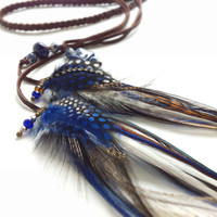 Cobalt blue, brown and black braided leather feather headband