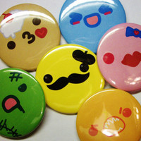6 Kawaii faces buttons by tBRWD by tBRWD on Etsy