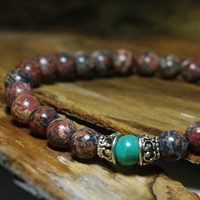 Shaman Meditation Beaded Stretch Bohemian Bracelet    -    Men's Gemstone Bracelet