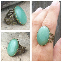 Lady Luck -  Green Aventurine and Bronze Filigree Lace -   Adjustable Ring