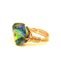 Swarovski Rainbow Ring Vitrail Crystal Twist Copper Wire Wrapped Size 7