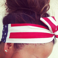 American Flag Dolly Bow Headband by Eindre on Etsy