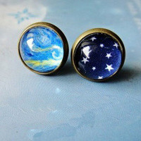 Bestgoods   Cool Sky Stars Oil Paiting Earrings For Two