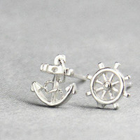 Navy Style Earrings Anchor Stud