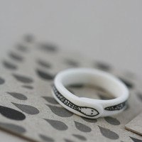 Black Snake  Porcelain Ring by annarubyking on Etsy