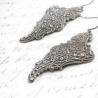 Silver Wing Earrings, Long Dangle, Antique Silver, Grey Pixie Wings, Filigree Angel Wings, Lightweight  Faerie, Romantic Jewelry