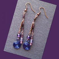 Purple Spiral Coppertone Earrings by AthomicArtandDesign on Zibbet