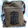 Tardis Backpack Doctor Who Brown Drawstring Canvas Book Bag | bagnabitbags - Bags &amp; Purses on ArtFire